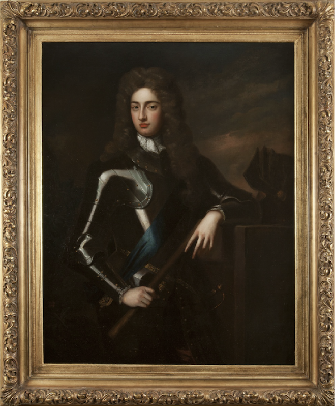 Antique portrait of a gent in armour by Godfrey Kneller