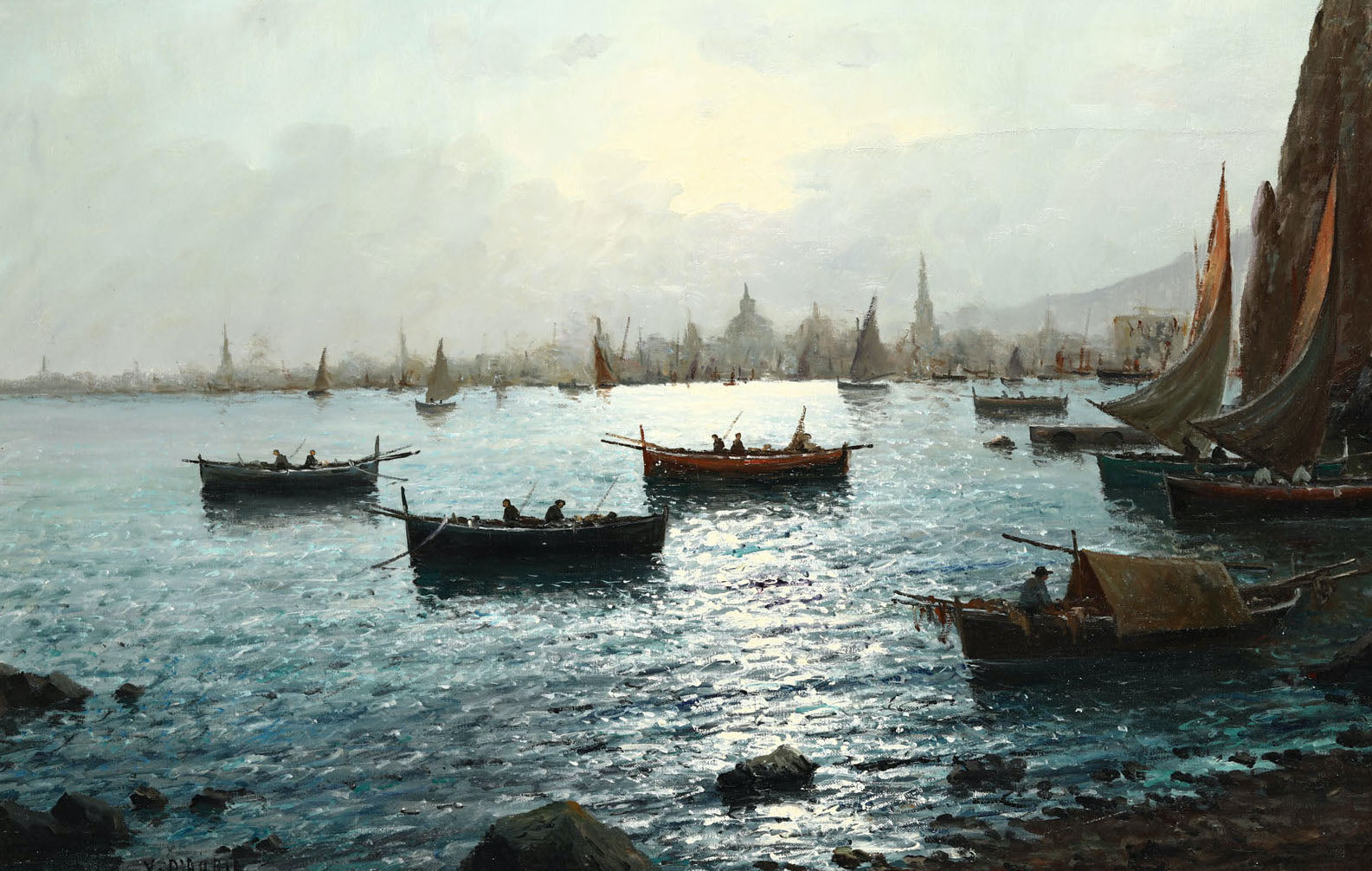 Italian-Harbour-Scene-Oil-Painting