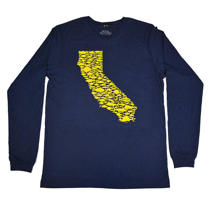 """California Fish Love"" Long Sleeve T-shirt in Navy"