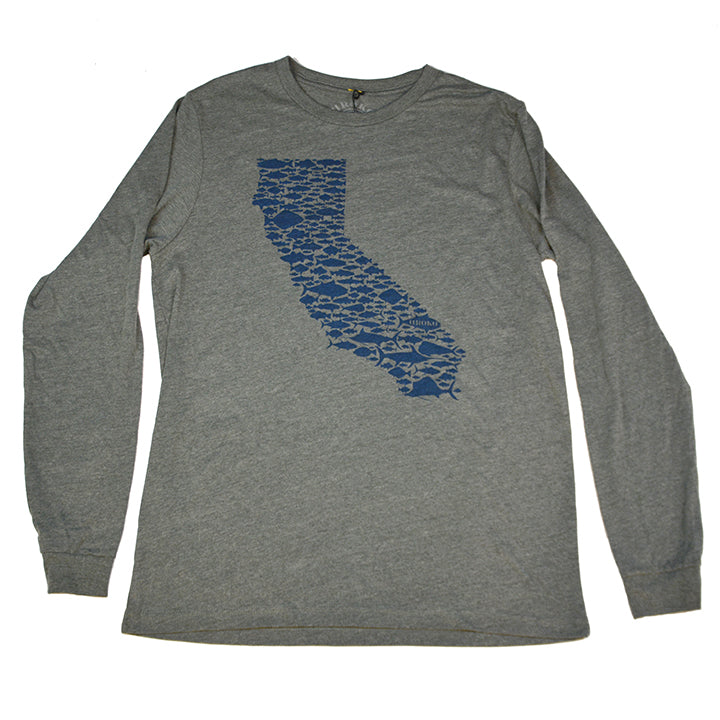 """California Fish Love"" Long Sleeve T-Shirt in Heather Grey"