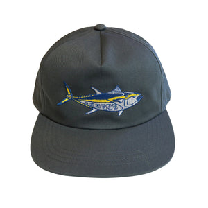 """Bluefin"" Snapback Unstructured 5 Panel Hat in Grey"