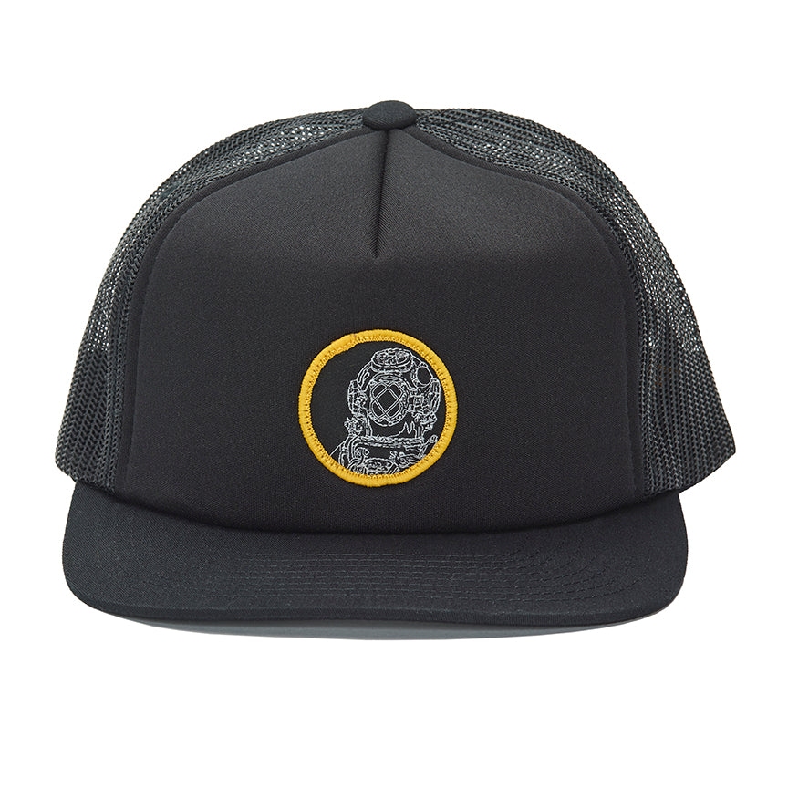 """Diver"" Patch on a Black Foamy Trucker Hat"