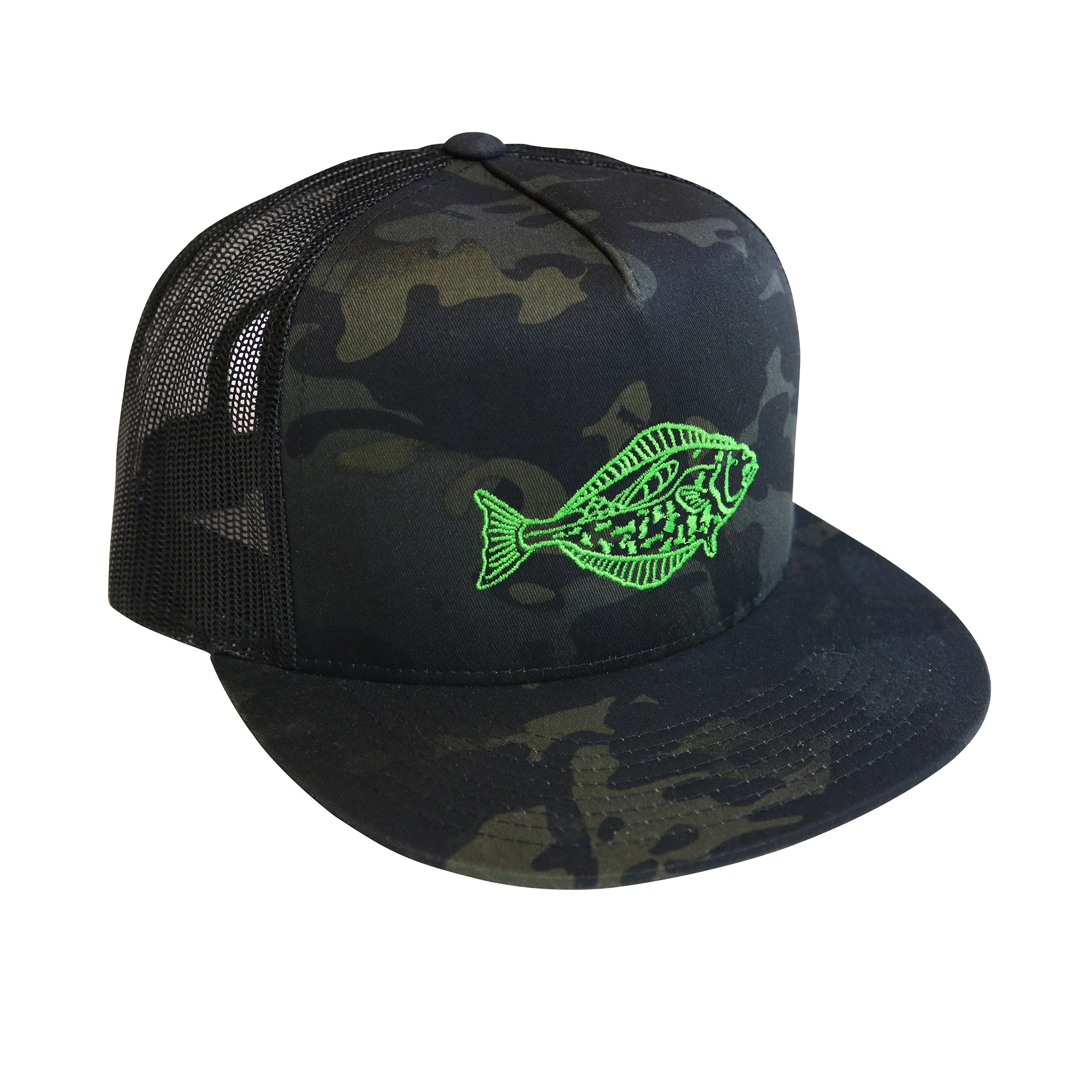 """Halibut"" Snapback 5 Panel Trucker Hat in Limited Mulit-Cam (camouflage"
