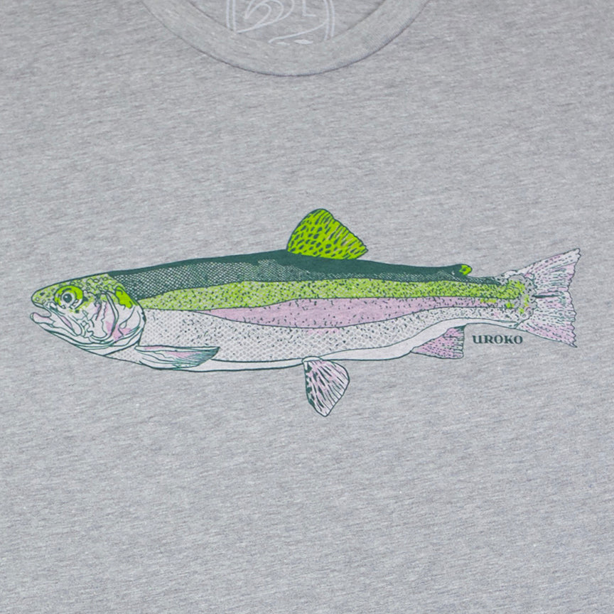 """Rainbow Trout"" Short Sleeve T-Shirt in Heather Grey"