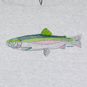 """Rainbow Trout"" Pull Over Hooded Sweatshirt in Heather Grey"