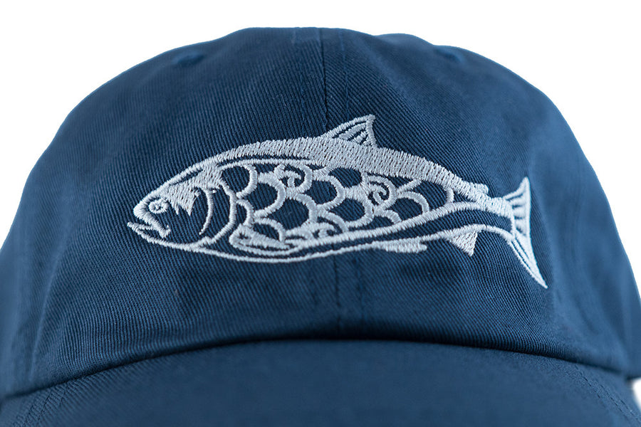 """Salmon"" Dad Hat in Navy with Grey Embroidery"
