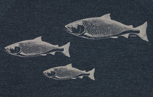 """Salmon Spawn"" Crewneck Sweatshirt in Midnight Navy Blue"