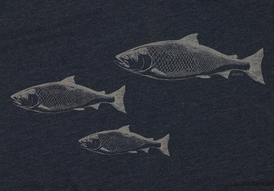 """Salmon Spawn"" Short Sleeve T-Shirt in Midnight Navy"