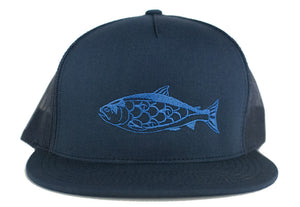 """Salmon"" Trucker Hat in Navy with Blue Embroidery"
