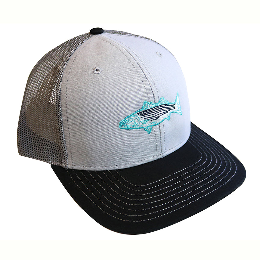 """Striped Bass"" Snapback Curved Bill Trucker in Charcoal and Black"