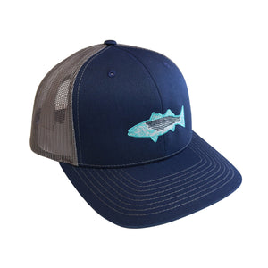 """Striped Bass"" Snapback Curved Bill Trucker in Navy and Grey"