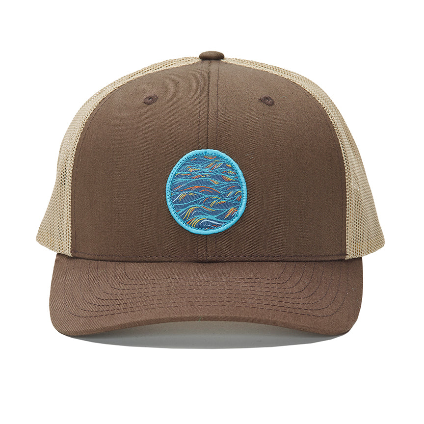 """Sunrise"" Patch Design on a Brown and Tan Curved Bill Trucker"