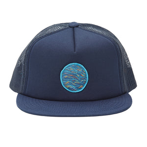 """Sunrise"" Patch on a Navy Foamy Trucker Hat"