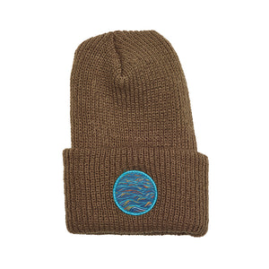 """Sunrise"" Patch on a Canyon Brown Watch Cap (Cuffed Beanie)"