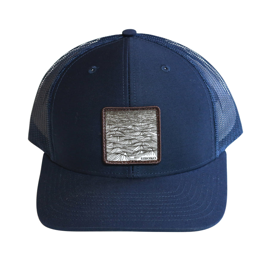 """Swell"" Curved Bill Trucker Hat in Navy"