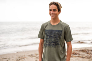 """Swell"" Short Sleeve T-Shirt in Military Green"