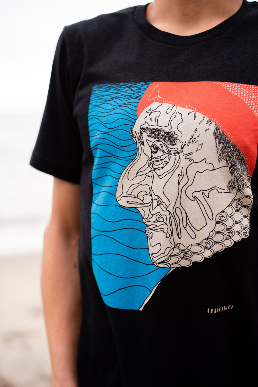 """Cousteau"" Short Sleeve T-Shirt in Heather Black"