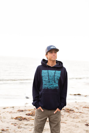 """Swell"" Pull Over Hooded Sweatshirt in Navy"