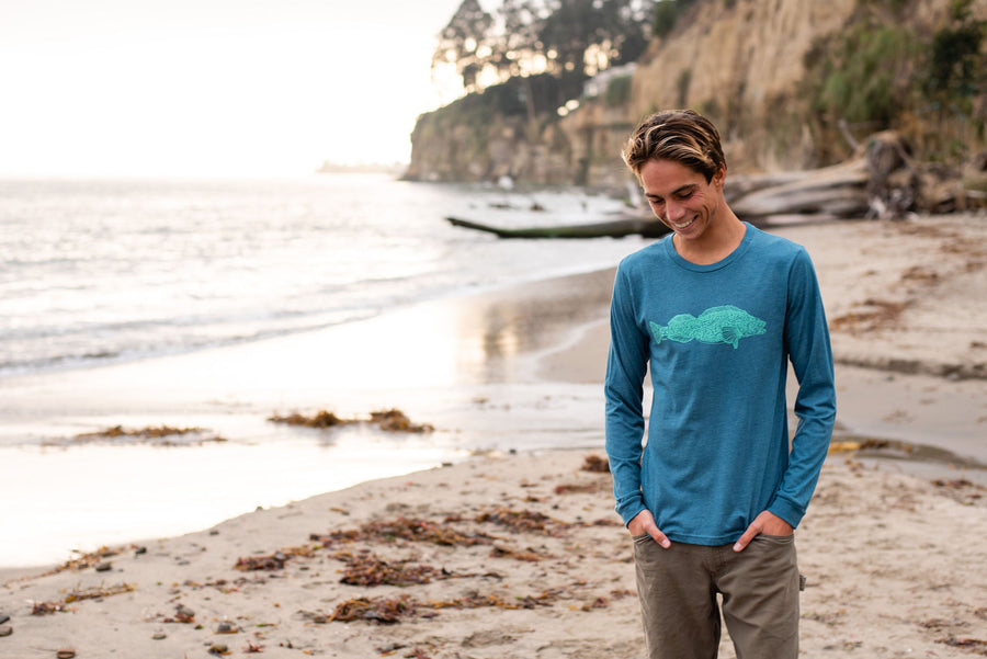 """Ling Cod"" Long Sleeve T-Shirt in Teal"