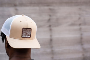 """Swell"" Curved Bill Trucker hat in Tan and White"