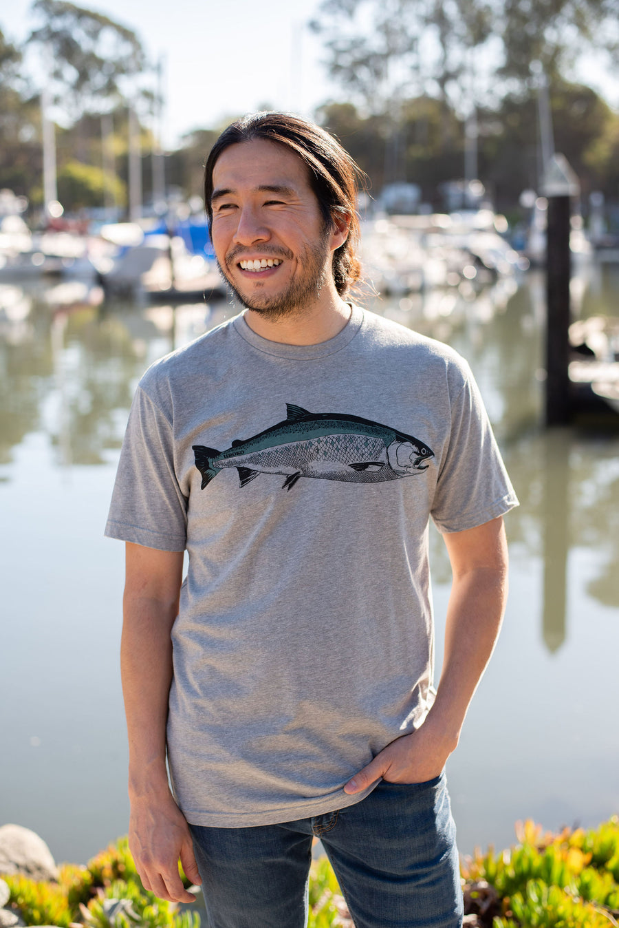 """Coho"" Short Sleeve T-Shirt in Heather Grey"