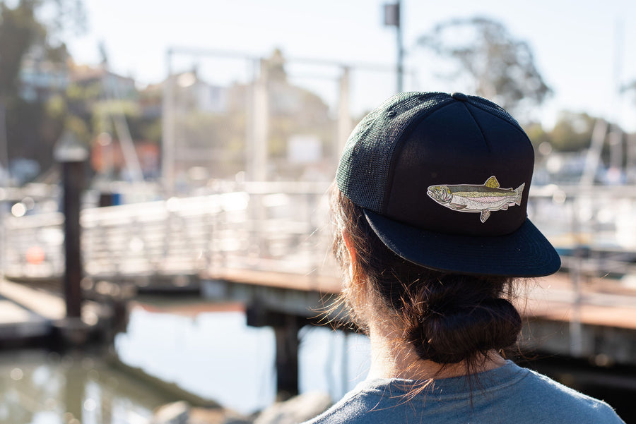 """Rainbow Trout"" Snapback Foamy Trucker in Black"