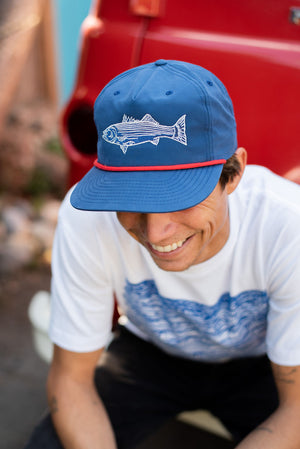 """Striped Bass"" on a Classic Unstructured Hat in Blue w/ Red Rope Detail"