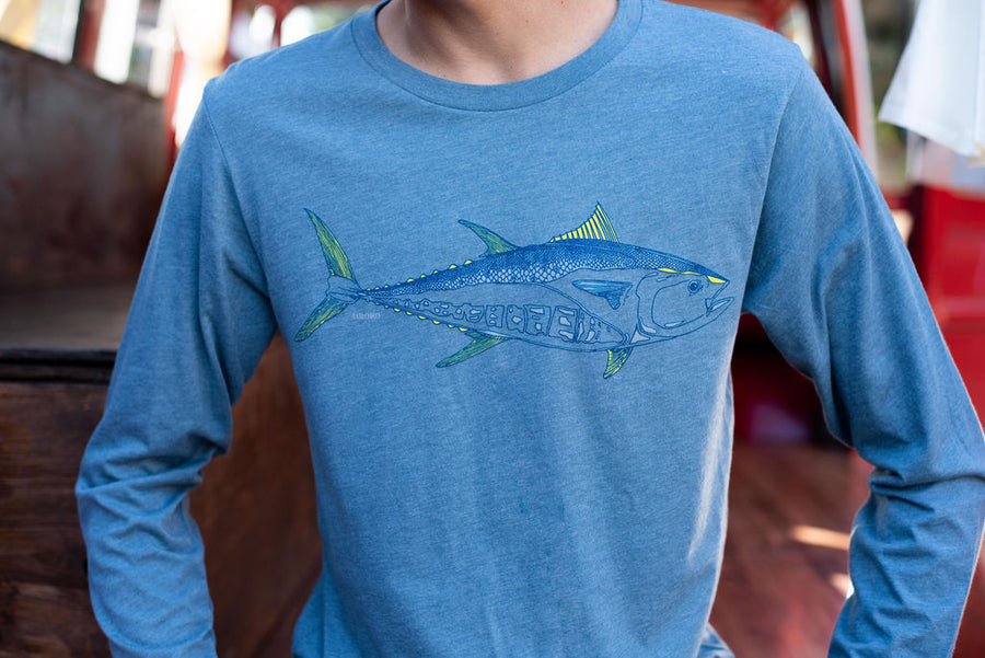 """Bluefin"" Long Sleeve T-Shirt in Heather Slate"