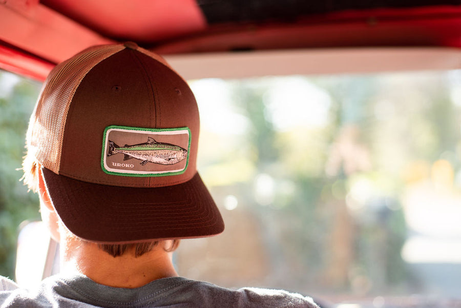 """Coho"" Patch Design on a Brown and Tan Curved Bill Trucker"