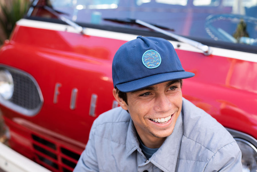 """Sunrise"" Patch on Navy Unstructured 5 Panel Hat"