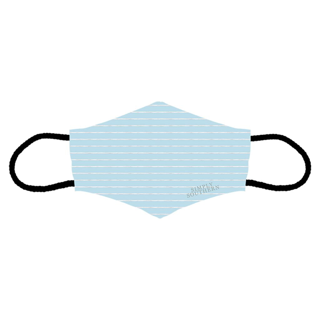 Simply Southern Adult Men's Face Mask / Striped Soft Blue