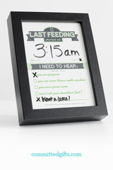 Track baby's last feeding and mom's postpartum needs with a Dry Erase Newborn Feeding Tracker.