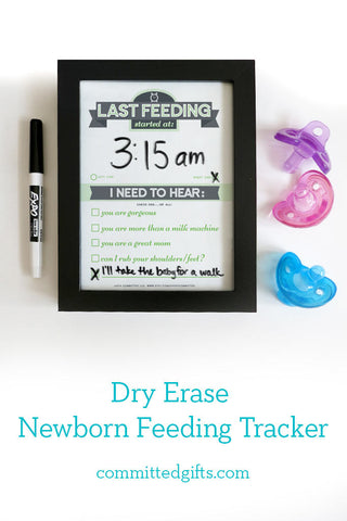 Black frame dry erase newborn feeding tracker for new moms. Track baby's last feeding and mom's postpartum needs.