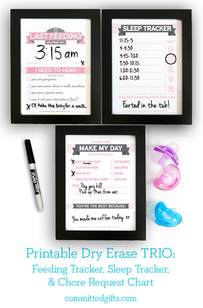 Dry Erase Trio Printables Newborn Feeding Tracker Sleep Tracker