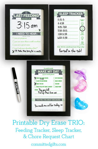 Dry Erase TRIO Printables: Newborn Feeding Tracker, Sleep Tracker, Chore Request Chart | Baby Shower Gift