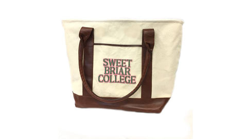 Bag Tote Canvas and Leather with SWEET BRIAR COLLEGE