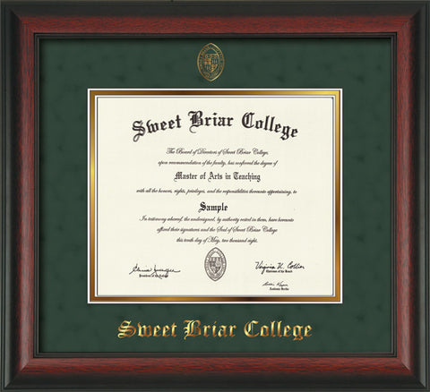 Diploma Frame 14X11 Rosewd Grn Suede, 12/15-present