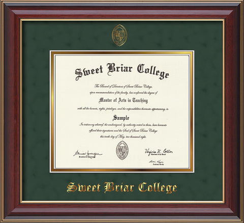 Diploma Frame 14X11 Cherry Lacquer with Green Suede