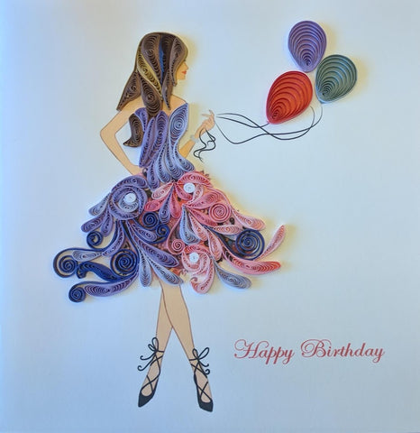 Card Quilling Birthday Girl