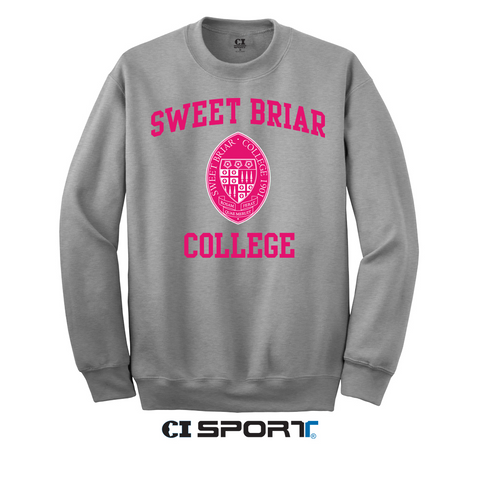Crewneck Fleece Heather with Pink Seal