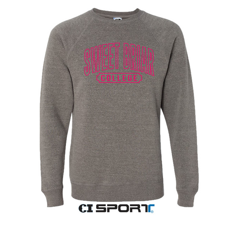 Raglan Crew Nickel Embroidered with Pink