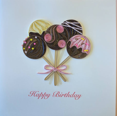 Card Quilling Birthday Cake Pops