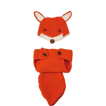 Fox Newborn Knit Hat and Diaper Cover, Orange