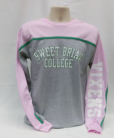 Heavyweight T Shirt LS Cotton Pink Green and Gray