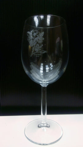 Wine Glass Rose Engraved