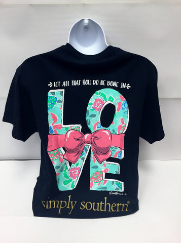 T Shirt Simply Southern Navy Love