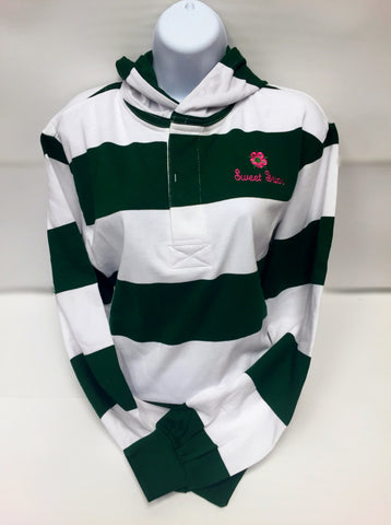 Rugby Shirt Green and White with SBC Flower