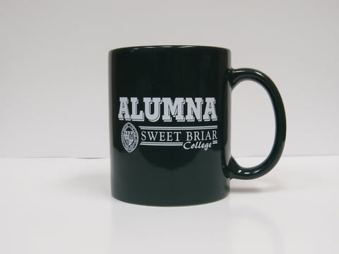 Coffee Mug Green Alumna W/Seal in White