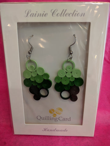Earrings Quilling Jade Ombre Bunch