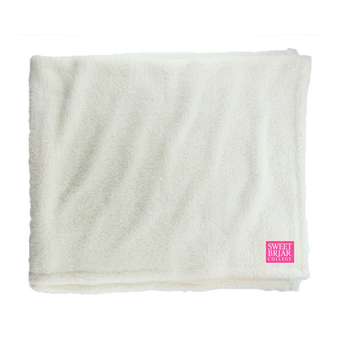 Sherpa Blanket Natural with Embroidered Pink Logo